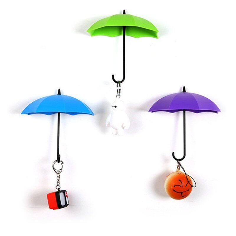 3 Pcs Mixed Color Small Plastic Umbrella Wall Pocket Hanger J Hook Green + Blue + Purple