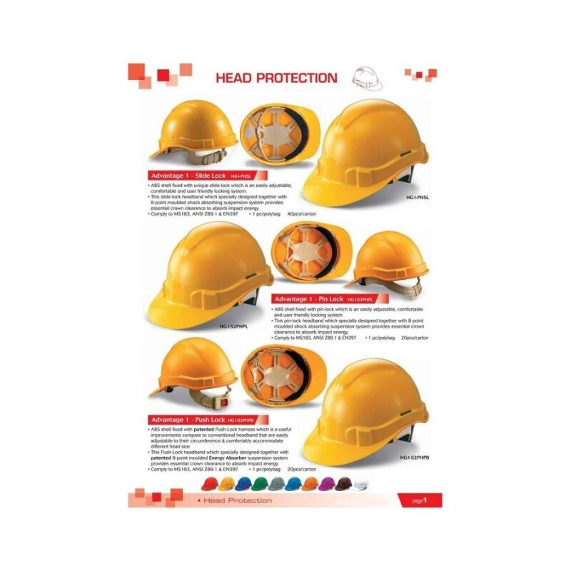 3 pcs Orange Proguard Advantage 1 Industrial Safety Helmet Sirim Certified