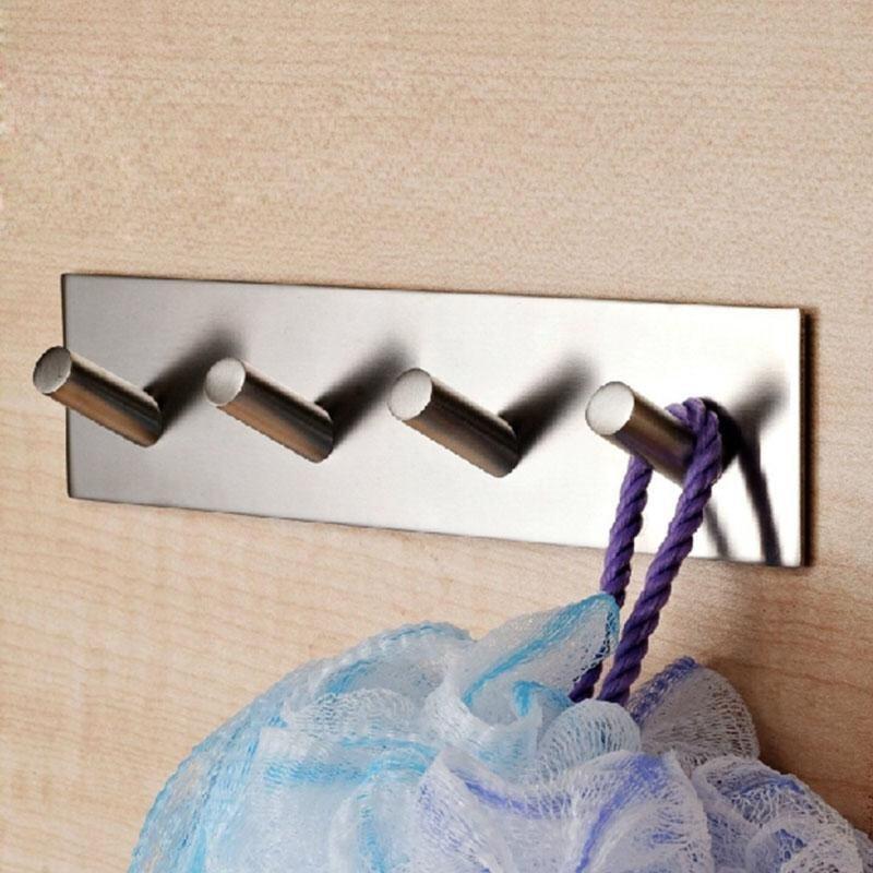 304 Stainless Steel Self Adhesive Hook Bathroom Kitchen Towel Hanger Style 4