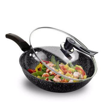 32cm Extra Non Stick Layer Pan Deep Wok Frying Pan Flat Bottom Cookware Maifan Stone Non Stick Pan Three Layer Ultra Non Stick Chooking Pan Pot