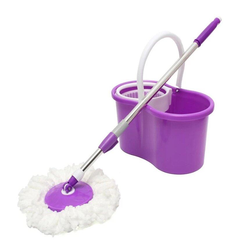 360 degrees portable spin mop cleaner with 2 mop heads purple lazada malaysia