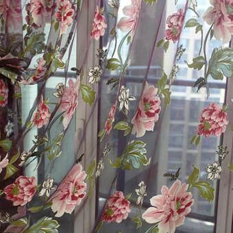 360DSC 2Pcs Decorative Window Door Curtains Drapes Panels Voile Tulle Flower Pattern Shade Curtain 1*2M - Purple