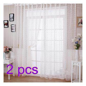 360DSC 2Pcs Romantic Sheer Curtain Voile Window Big Hook Flocking Pattern Window Screening Curtain 1*2.7M - White