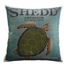 ... 360DSC Sea Turtle Printing Cotton Linen Square Shaped Decorative Pillow Cover Pillowcase Pillowslip 45 45cm