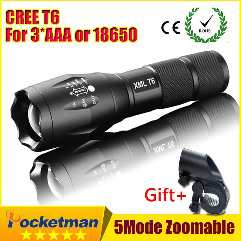 Harga 3800LM Aluminum Waterproof Zoomable CREE LED Flashlight Torch lightfor 18650 Rechargeable or AAA Battery-Gift