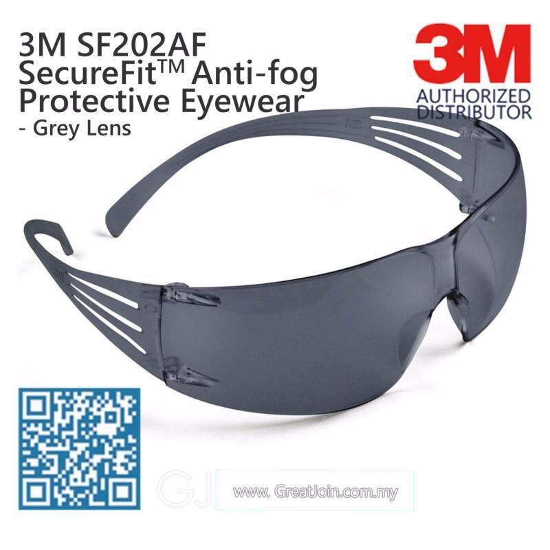 3M SF202AF SecureFit Lightest Safety Eyewear Anti-Fog Sunglasses [Grey Lens/ Grey Temple]