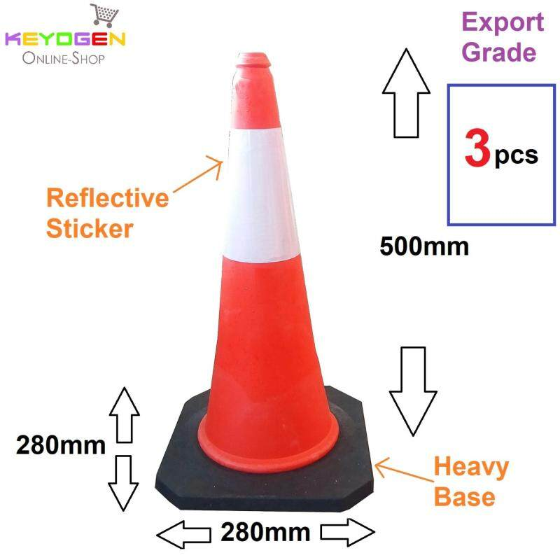 Buy 3pcs Export grade parking cone traffic block reflective safety standard cones Malaysia