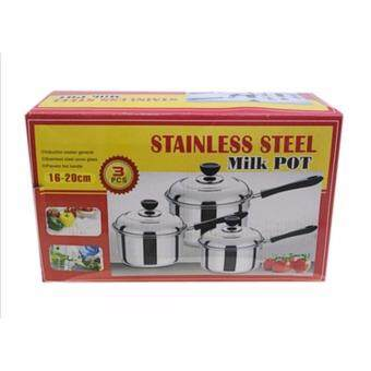 3pcs Stainless Steel Milk Pot With Bakelite Handle Set 16-20cm + (Free Stainless Steel food container)