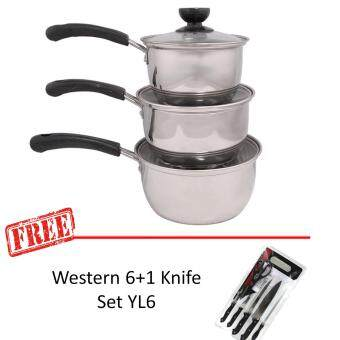 3pcs Stainless Steel Milk Pot With Bakelite Handle Set 16-20cm +(Free Western 6+1 Knife Set YL6)