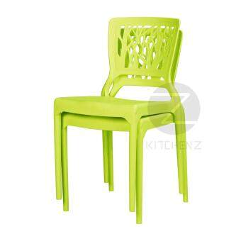 3V Modern Stackable Dining Plastic Chair IZ-701 Green - 2 Pcs