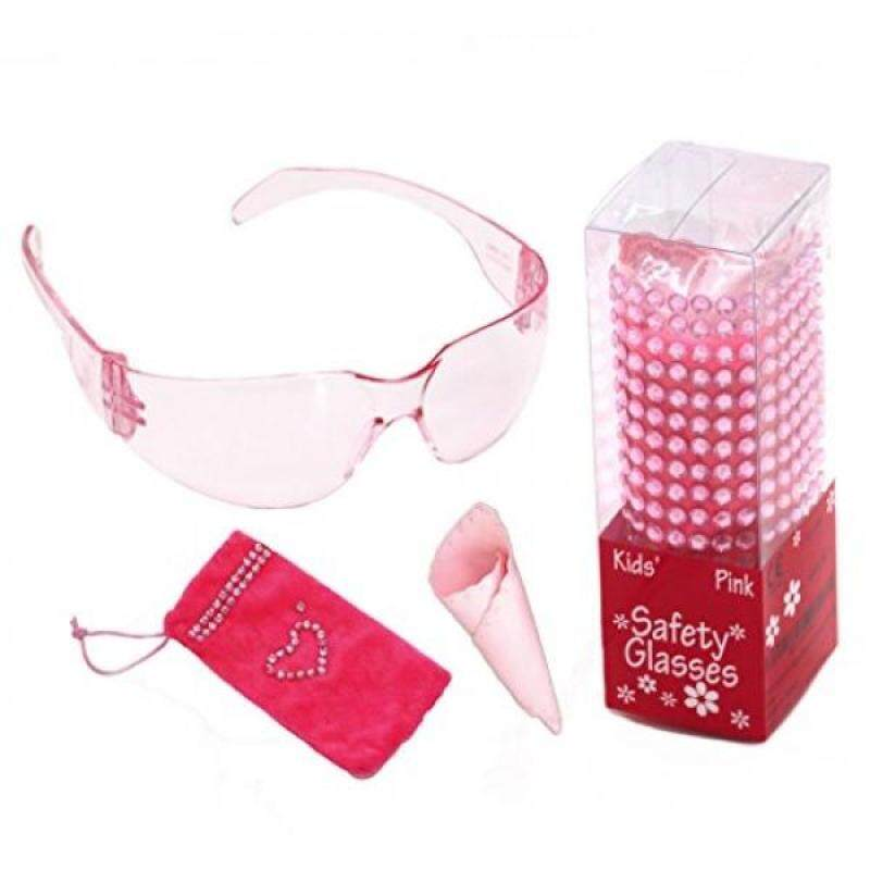 4 in 1 Pink kids safety glasses bling gift set. Cute Christmas gift ideas for 3 to 10 years old girls.