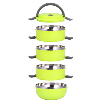 4 Layer Stainless Steel Portable Thermal Insulated Lunch Box FoodContainer(Green) - 5