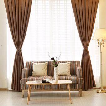 4 Pcs Set - Extra Thick Elegant Curtain With White Sheer Curtain -200 x 270 cm - French pleat - Free curtain Hooks