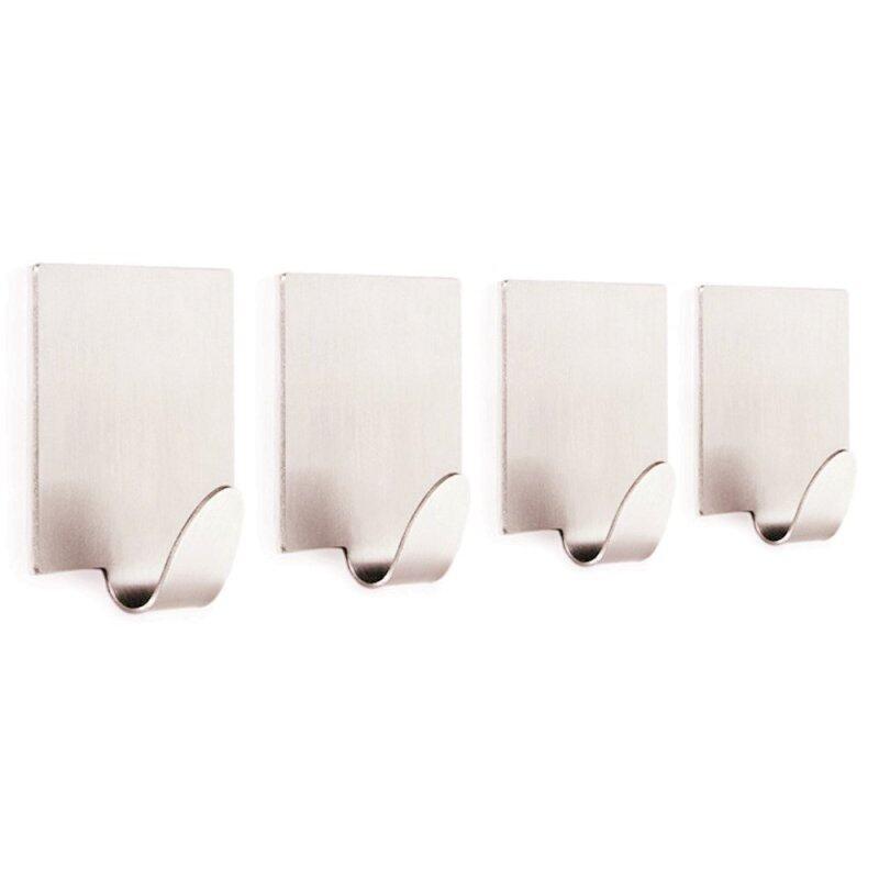 4 Pcs Stainless Steel Trackless Self Adhesive Bathroom Kitchen Room Towel Cloth Wall Hook Rack