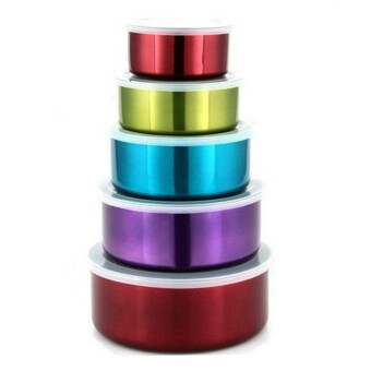 5 In 1- multi colored Stainless Steel Food Container