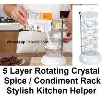 5-Layer Rotating Crystal Container for Spice Condiment