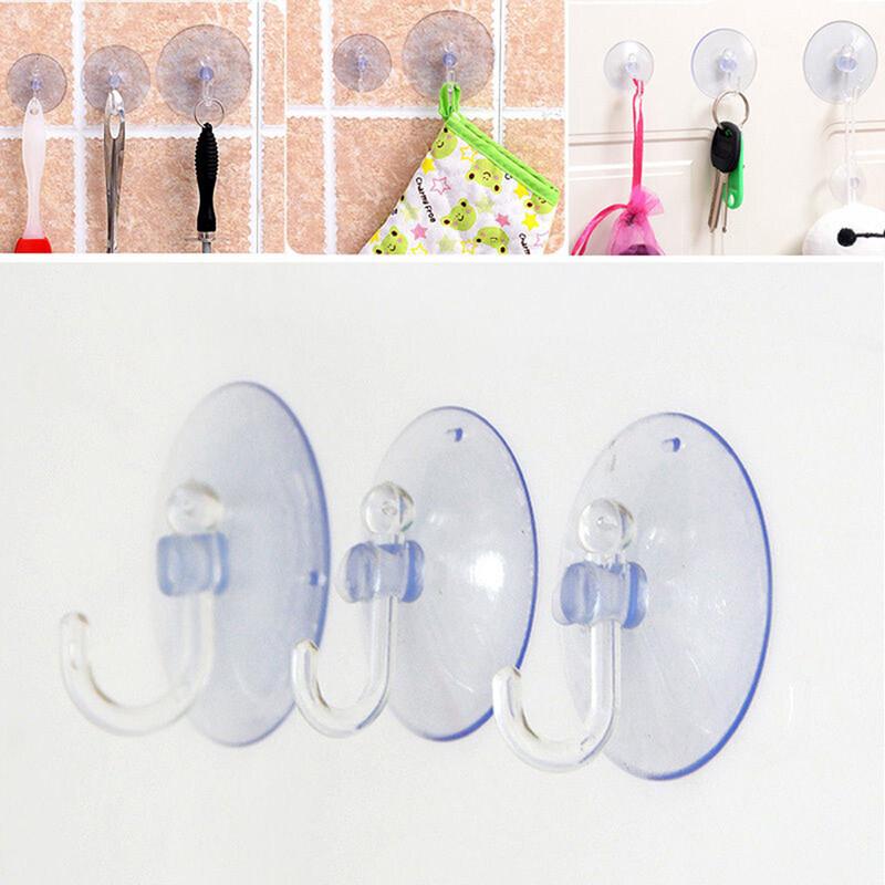 5Pcs Transparent Suction Cup Sucker For Window Wall Hook Hanger Kitchen Bathroom 3cm