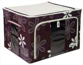 66L Large Oxford Cloth Dual Opening Foldable Spring Blossom Storage Box(Dark Brown)