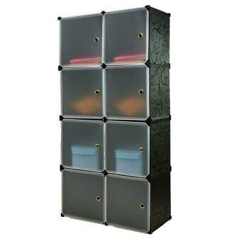 8 Cubes Stackable Wardrobe - Black