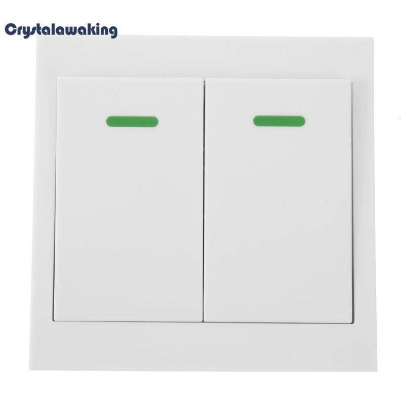 86 Wall Panel Remote Transmitter 1 2 3 Button Sticky RF Wireless Remote(White)-2 Button