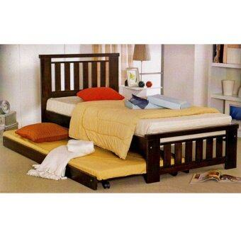 9326w Wooden Single Bed With Pull Out Trundle Bed Lazada
