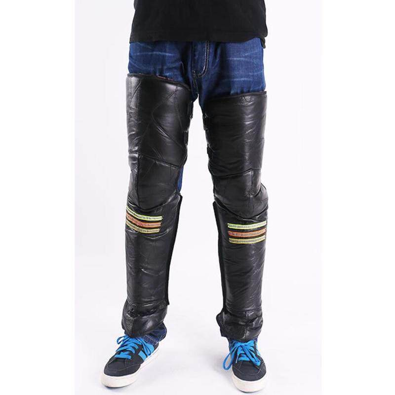 Buy A Pair Winter Thick Warm Windproof Lengthen Motorcycle Bike PU Knee Protector Cover Plus Velvet Knee Pads, Height: 73cm Malaysia