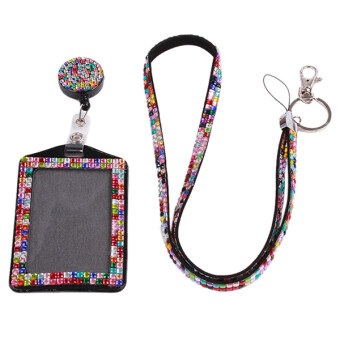 Ai Home Rhinestone Badge Lanyard Vertical ID Card Holder ComboMulticolor