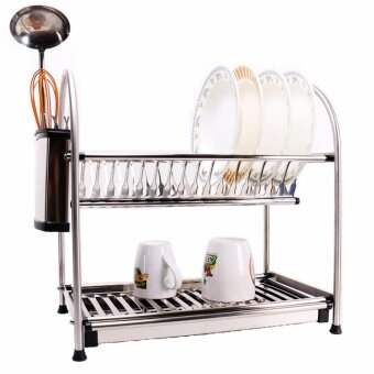 Alpha Living 2-Layer High Quality Stainless Steel Dish Drainer Two Tier Kitchen Storage Drying Draining Rack, Disk Sink