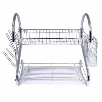 Alpha Living S Shape 2-Layer Dish Drainer Two Tier Kitchen Storage Drying Draining Rack (Silver)