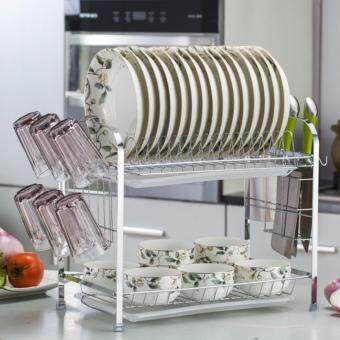 Bissell ORIGINAL Solid Stainless Steel M Shape 2 Layer Double Dish Drainer (Silver) GUARANTEE No Rusty (Style B)