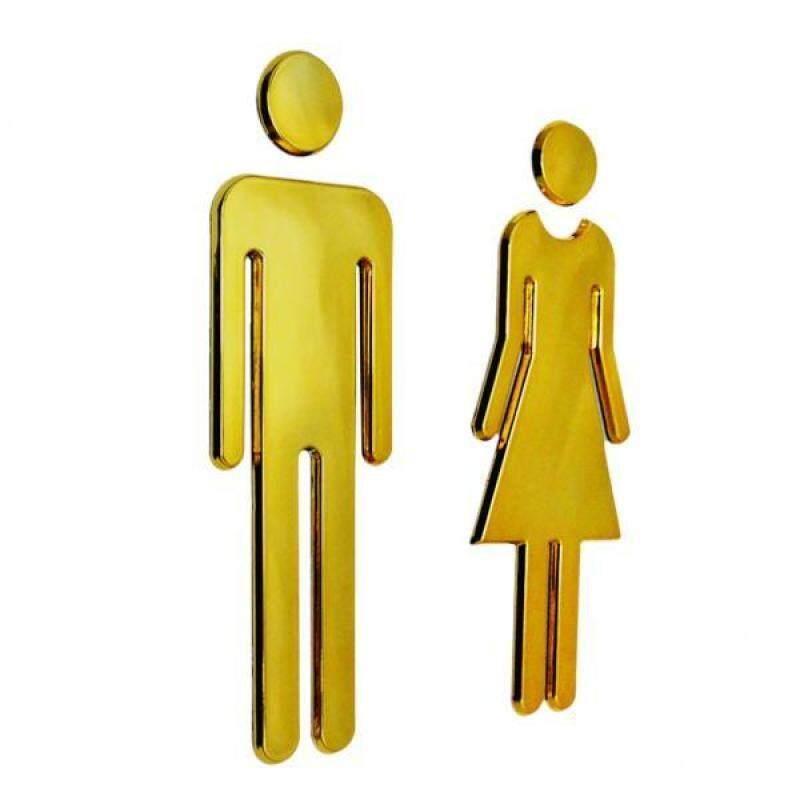 Buy BolehDeals Man&Woman WC Decals Toilet Signs Restroom Washroom Signage Plaque Golden Malaysia