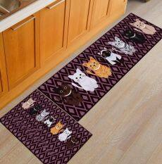 Cartoon Cute Small Cat Kitchen Long Carpet Non Slip Bedroom Bed Front Floor Mats Absorbent Foot Mat