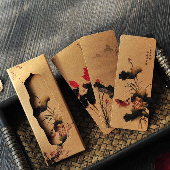 Chinese-style Chinese lotus painting leather paper bookmark