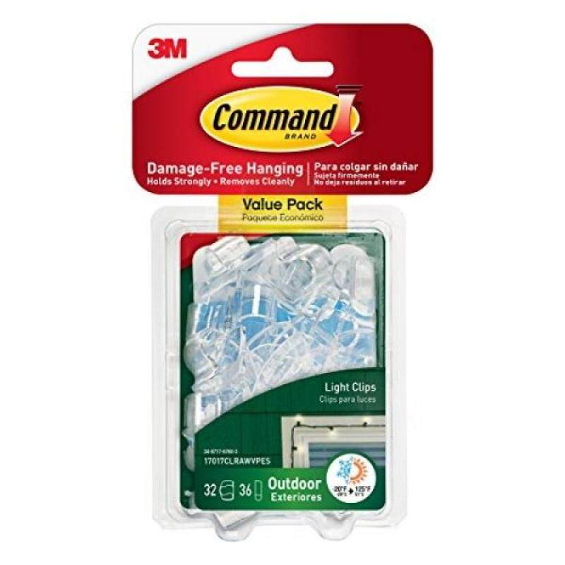 Command Outdoor Light Clips Value Pack, Clear, 32-Clips