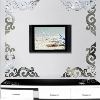 Corner flower mirror wall stickers acrylic mirror wall stickers living room entrance restaurant Cool decorative mirror 3D stereo sticker