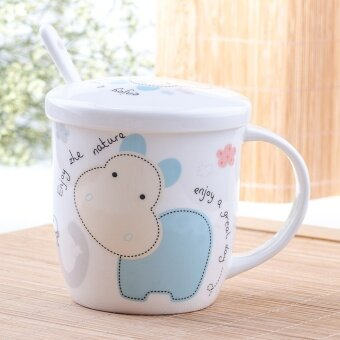 Creative ceramic cup mug cup with lid spoon cute cup coffee cup breakfast cup milk cup Ceramic