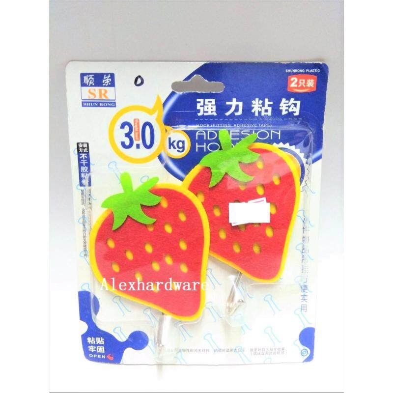 CUTE CLOTH HOOK, 2-piece-pack (included Double-sided tape) - STRAWBERRY