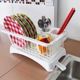 Daisu Multifunctional Kitchen Dish Sink Drainer Drying Rack BasketHolder Organizer Tray (White)