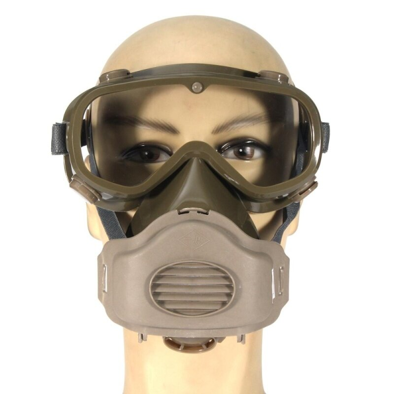 Buy Dust Mask Respirator Half Facepiece Paint Breathing Gas Protection w/ Glasses Malaysia