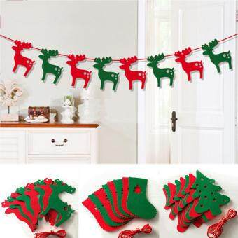 Eachgo Merry Christmas Bunting Banner Xmas Party Wall Window Hanging Decor Flags (Elk#)
