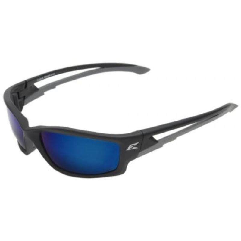 Edge Eyewear TSKAP218 Kazbek Polarized Safety Glasses, Black with Aqua Precision Blue Mirror Lens