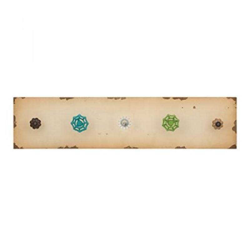 Elements Wood 5-Knob Wall Hook, 24-Inch-by-6-Inches, Rustic Cream