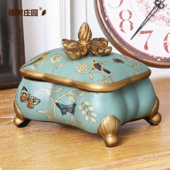 European country pastoral jewelry box decorative product storage box ornaments Yingge Butterfly dance Fashion Home Creative Soft dress
