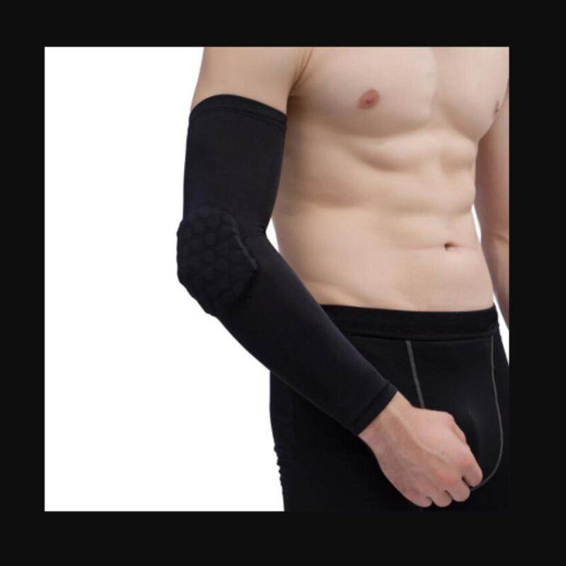 Extended Arm Compression Sleeve with Hexpad Protective Pad High Elastic Basketball Elbow Guards Elbow Pads Black Length:39cm/15.3in