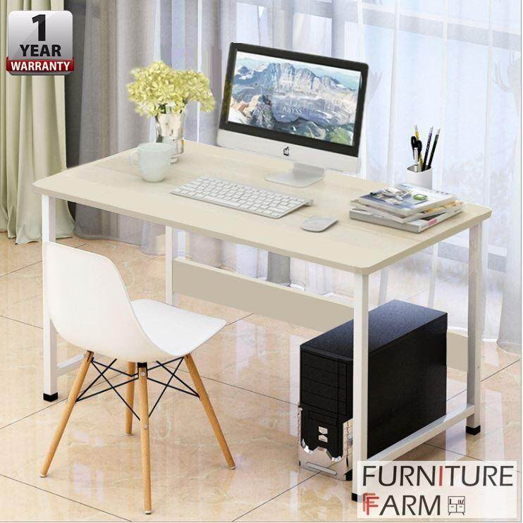 F 120 X 60 75 Cm Adjouter White Steel Frame Table Wooden Writing Computer Desk Malaysia