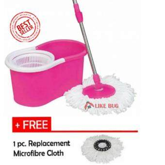 FARMIE: Portable Magic Spin Mop Cleaner with 2 Mop Heads + Free 1pc. Replacement Mop Cloth