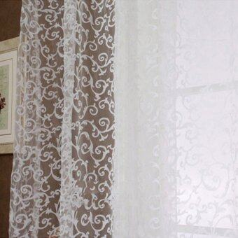 Floral Tulle Voile Door Window Curtain White - 4