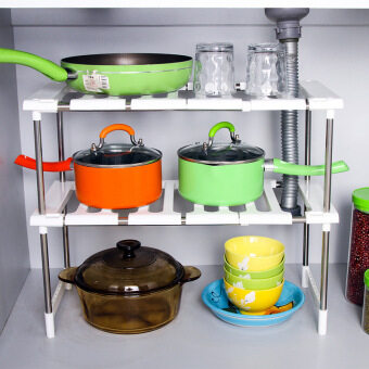 Free shipping a Layer 2 layer plastic does not rust steeltelescopic under the sink shelf seasoning products kitchen glovestorage rack shoe rack - 2