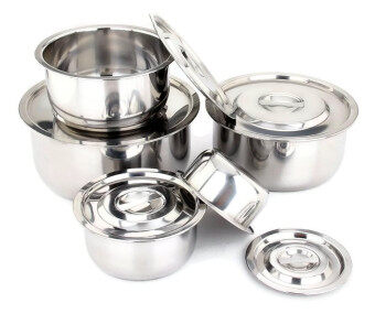 Freemarket Set of 5 High Quality Stainless Steel Multipurpose Conditioning Pot Stock Pot