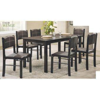 Fully Solid Wood 1+6 Dining Table Cushion Chair Set Meja Makan Kerusi Makan Breakfast Table Lunch Table Dinner Table Dining Area (Dark Brown)